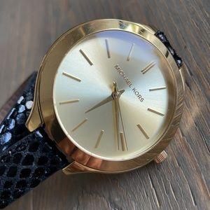 Michael Kors Runway Black Double-Wrap Gold Watch